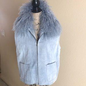 Blue Suede Vest with Mongolian Fur Collar